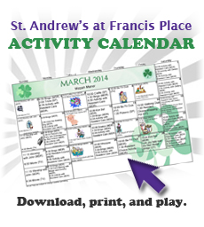St. Andrews at Francis Place Activities Calendar