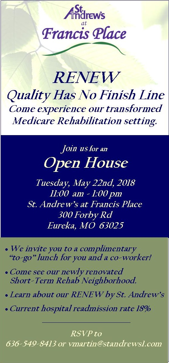 Medicare Rehab Open House in Eureka hosted by St. Andrew's at Francis Place